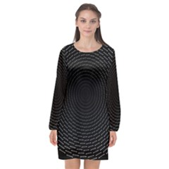 Q Tips Collage Space Long Sleeve Chiffon Shift Dress