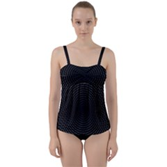 Q Tips Collage Space Twist Front Tankini Set