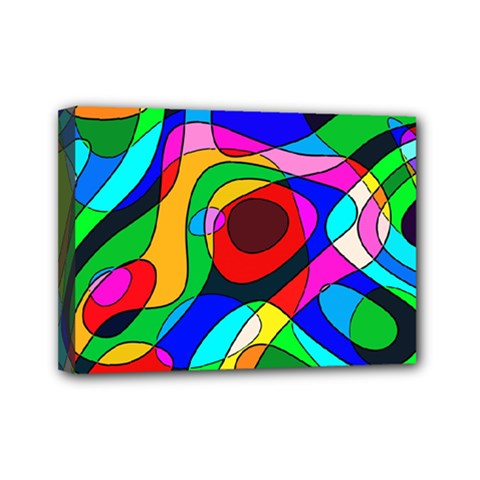 Digital Multicolor Colorful Curves Mini Canvas 7  X 5