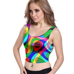 Digital Multicolor Colorful Curves Crop Top