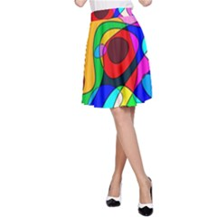 Digital Multicolor Colorful Curves A Line Skirt