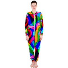Digital Multicolor Colorful Curves Onepiece Jumpsuit (ladies)