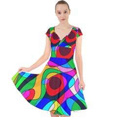 Digital Multicolor Colorful Curves Cap Sleeve Front Wrap Midi Dress