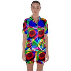Digital Multicolor Colorful Curves Satin Short Sleeve Pyjamas Set
