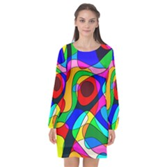 Digital Multicolor Colorful Curves Long Sleeve Chiffon Shift Dress