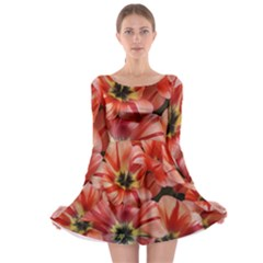Tulips Flowers Spring Long Sleeve Skater Dress