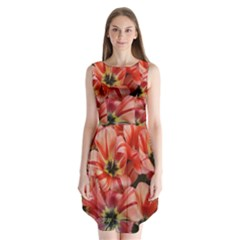 Tulips Flowers Spring Sleeveless Chiffon Dress