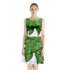 Plant Berry Leaves Green Flower Sleeveless Waist Tie Chiffon Dress