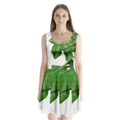 Plant Berry Leaves Green Flower Split Back Mini Dress