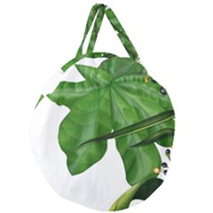 Plant Berry Leaves Green Flower Giant Round Zipper Tote