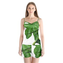 Plant Berry Leaves Green Flower Satin Pajamas Set