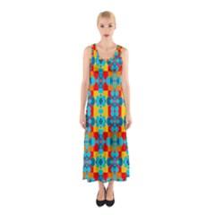 Pop Art Abstract Design Pattern Sleeveless Maxi Dress