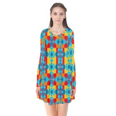 Pop Art Abstract Design Pattern Flare Dress