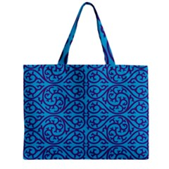 Monogram Blue Purple Background Zipper Mini Tote Bag