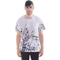 Snow Winter Cold Landscape Fence Men s Sports Mesh Tee