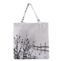 Snow Winter Cold Landscape Fence Grocery Tote Bag by BangZart