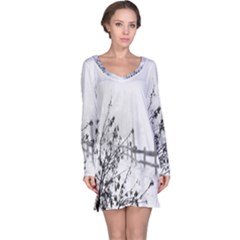 Snow Winter Cold Landscape Fence Long Sleeve Nightdress