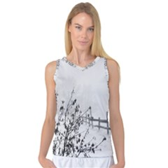 Snow Winter Cold Landscape Fence Women s Basketball Tank Top