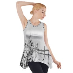 Snow Winter Cold Landscape Fence Side Drop Tank Tunic