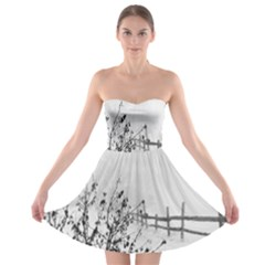 Snow Winter Cold Landscape Fence Strapless Bra Top Dress