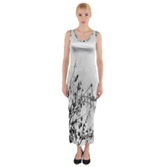 Snow Winter Cold Landscape Fence Fitted Maxi Dress