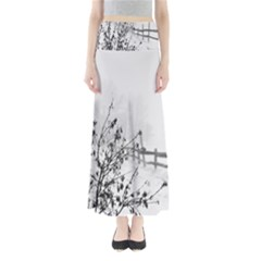 Snow Winter Cold Landscape Fence Full Length Maxi Skirt