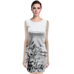 Snow Winter Cold Landscape Fence Classic Sleeveless Midi Dress