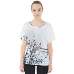 Snow Winter Cold Landscape Fence V Neck Dolman Drape Top