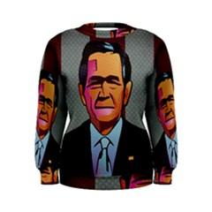 George W Bush Pop Art President Usa Women s Sweatshirt