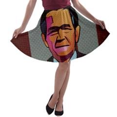 George W Bush Pop Art President Usa A Line Skater Skirt by BangZart