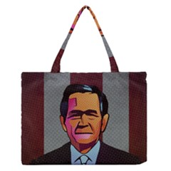 George W Bush Pop Art President Usa Zipper Medium Tote Bag
