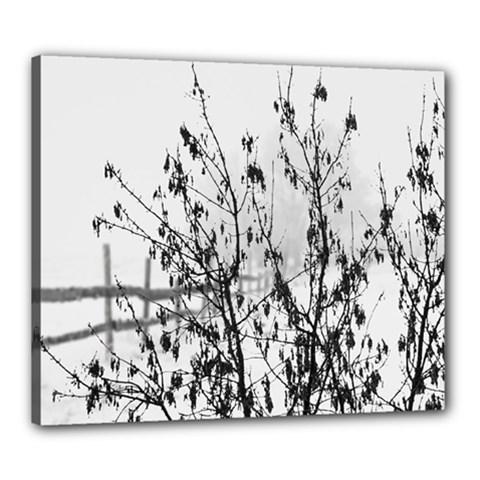 Snow Winter Cold Landscape Fence Canvas 24  X 20