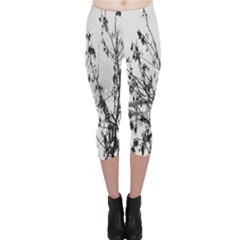 Snow Winter Cold Landscape Fence Capri Leggings