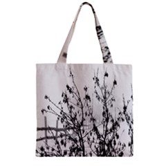 Snow Winter Cold Landscape Fence Zipper Grocery Tote Bag by BangZart