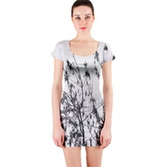 Snow Winter Cold Landscape Fence Short Sleeve Bodycon Dress