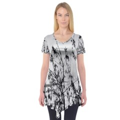 Snow Winter Cold Landscape Fence Short Sleeve Tunic