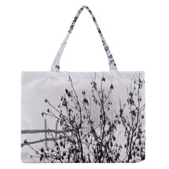 Snow Winter Cold Landscape Fence Zipper Medium Tote Bag