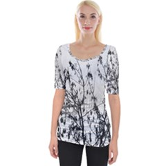 Snow Winter Cold Landscape Fence Wide Neckline Tee