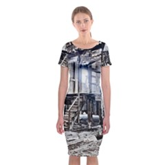 House Old Shed Decay Manufacture Classic Short Sleeve Midi Dress