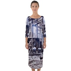 House Old Shed Decay Manufacture Quarter Sleeve Midi Bodycon Dress