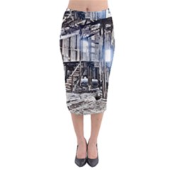 House Old Shed Decay Manufacture Midi Pencil Skirt