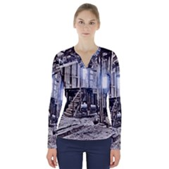 House Old Shed Decay Manufacture V Neck Long Sleeve Top