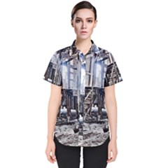 House Old Shed Decay Manufacture Women s Short Sleeve Shirt