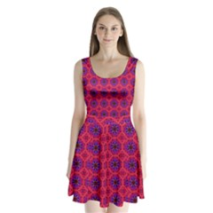 Retro Abstract Boho Unique Split Back Mini Dress