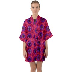 Retro Abstract Boho Unique Quarter Sleeve Kimono Robe