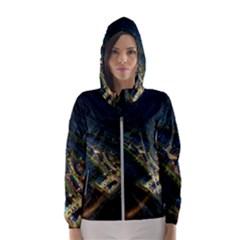 Commercial Street Night View Hooded Wind Breaker (women)