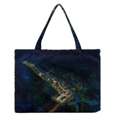 Commercial Street Night View Zipper Medium Tote Bag