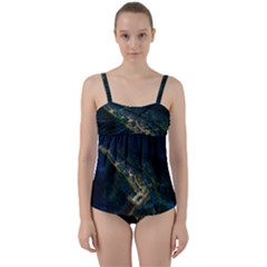 Commercial Street Night View Twist Front Tankini Set