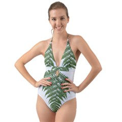 Boating Nature Green Autumn Halter Cut Out One Piece Swimsuit