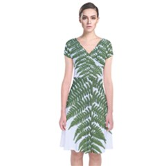 Boating Nature Green Autumn Short Sleeve Front Wrap Dress